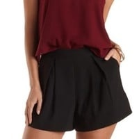 Pleated High-Waisted Shorts by Charlotte Russe