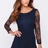 Tell Me Something Navy Blue Lace Romper