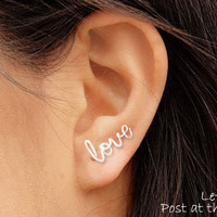 Love Earring, Sterling Silver or Gold Filled, FREE Toe Ring with Order