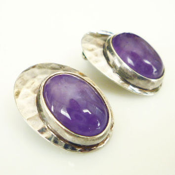 Shubes Earrings Sterling Silver Amethyst Stone Hand Hammered Modernist Vintage Jewelry