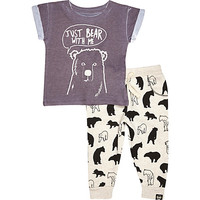 River Island Mini boys grey bear with me outfit