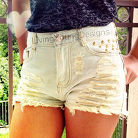White Wash Distressed Studded High Waist by LivingYoungDesigns