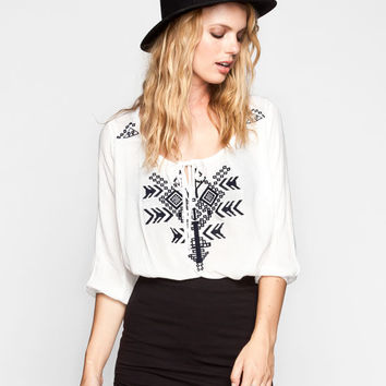 Full Tilt Womens Embroidered Peasant Top Cream  In Sizes