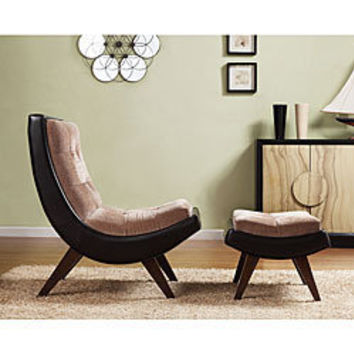 Albury Two-tone Peat Velvet Faux Leather Chair with Ottoman | Overstock.com