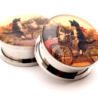 Cats on a Bike Picture Plugs gauges - 8g, 6g, 4g, 2g, 0g, 00g, 7/16, 1/2, 9/16, 5/8, 3/4, 7/8, 1 inch