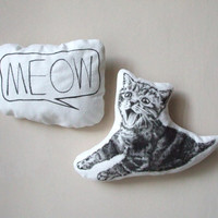 tabby cat pillow kitten meow set of 2 cushions nursery room decor soft toy gift idea for pet lovers home