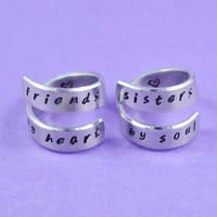 [♡014] friends by heart / sisters by soul - Hand Stamped Spiral Rings Set, Best Sisters RIngs