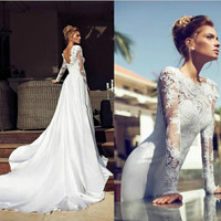 2014 Sexy Wedding Dress Bridal Gown Lace Custom Size2-4-6-8-10-12-14-16-18+