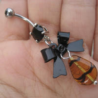 Belly Button Jewelry- Bow Belly Button Ring Black Animal Print Tiger Navel Piercing Bar Barbell