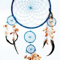 Huge 36 Inch Blue Dream Catcher with Feathers and Beads