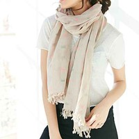 Clipped Jacquard Scarf- Neutral Multi One