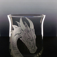 Home decor Dragon votive candle holder ,engraved clear glass fantasy dragon Mother day gift ideas etched personalize