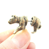 Fake Gauge Earrings: Realistic Brown Bear Shaped Animal Themed Faux Plug Stud Earrings in Brass