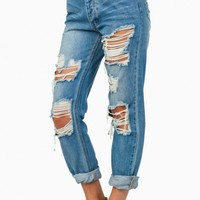 KARLIE DISTRESSED BOYFRIEND JEANS
