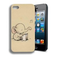 Fashion Colorful Cute Elephant Custom Hard Back Case Cover Skin For Apple iPhone 5 5G 5S (AT&T, T-Mobile, Sprint, Verizon)