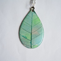 Leaf necklace, resin colored leaf necklace for woman, resin jewelry