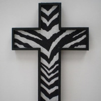 ZEBRA PRINT Wall Cross - handpainted wood cross & zebra print eco felt