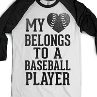My Heart Belongs To A Baseball Player (Baseball Tee)-T-Shirt
