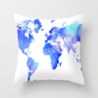 Watercolour World Throw Pillow by Ally Coxon | Society6