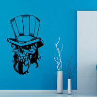 Happy Halloween Wall Decals Skull With Hat Skeleton Vinyl Decal Sticker Interior Design Living Room Art Boy Kids Nursery Room Decor KG215