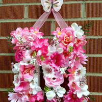 """Floral Monogram Letter - """"Pink M"""" - Other Personalization Available, Summer, Spring, Daisies, Pink, Gift, Initial, Wall Decor, Girl's Room"""