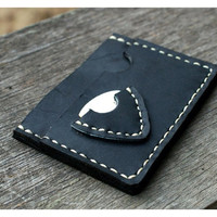 Thin Leather wallet pick guitar case / Personalized Men Christmas Gift