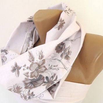 white cotton linen scarf, infinity scarf, floral scarves, women scarves, white beige gray, eternity scarf, scarf trends