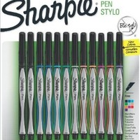 Sanford Sharpie Fine Point Pen Stylo, Assorted Colors, 12-Pack
