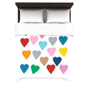 "Project M ""Colorful Hearts"" Woven Duvet Cover"