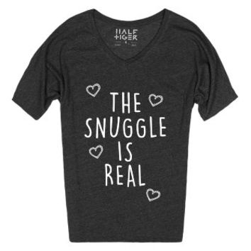 Snuggle Iz Real-Unisex Heather Onyx T-Shirt