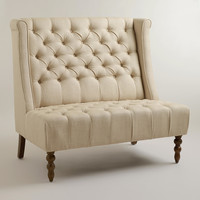 Linen High Back Settee - World Market