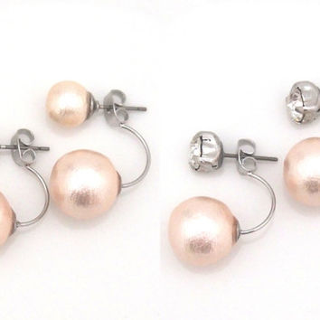 4 Way! Pink Japanese Cotton Pearl Double Sided Earrings, Double Cotton Pearl Earrings, Tribal Cotton Pearl Earrings, Wedding Pearl Earrings