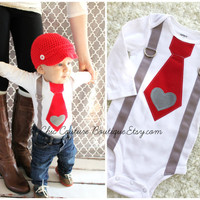 Valentine's Day Baby Boy Tie and Suspenders Bodysuit with Heart Applique. Baby's 1st Photo Prop Red Gray Grey Birthday Outfit XOXO Love