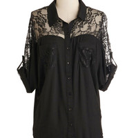 ModCloth Mid-length Short Sleeves Adventures in Lace Top