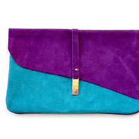 Purple & Teal Suede Clutch by R.pellicer on Etsy