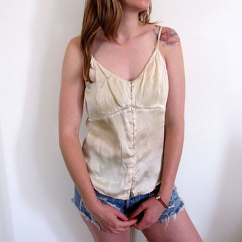 Vintage Cream Tank Off White Fitted Victorian Boho Bohemian Silk Summer