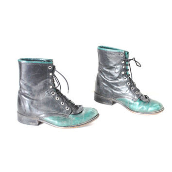 size 8.5 two tone WESTERN boots vintage 1970s 70s LAREDO pointy toe black + teal leather FRINGE lace up cowboy roper boots