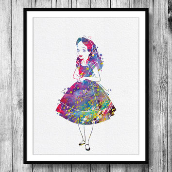 Instant Download Alice in Wonderland Watercolor Art Digital Printable JPEG Wall Art For Girls Art Wall Decor