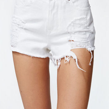 Kendall & Kylie Shredded Destroyed White Cut-off Shorts at PacSun.com