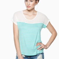 ShopSosie Style : Brighton Striped Tee in Mint