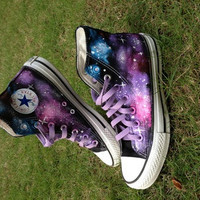 Galaxy Converse Sneakers Hand Painted High Top