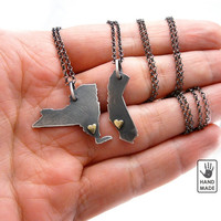 NEW YORK, sterling silver necklace, sterling silver chain, brass heart, small