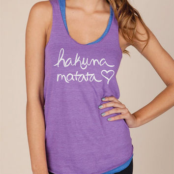Hakuna Matata Eco Heather Racerback Tank Top in Purple