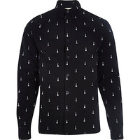 River Island MensBlack RVLT guitar print long sleeve shirt