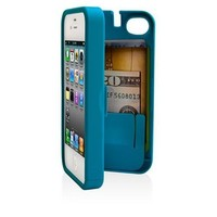 EYN, Turquoise Case for iPhone 4/4S with built-in storage space for credit cards/ID/money