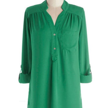 ModCloth Long Long Sleeve Button Down Pam Breeze-ly Tunic in Green
