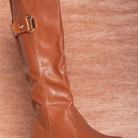 Henry Ferrera Taking Charge Faux Leather Mid Calf Riding Boots Major-200 - Cognac