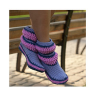 Crochet Boots Lilac Purple Stripes for the Home by JoyForToes