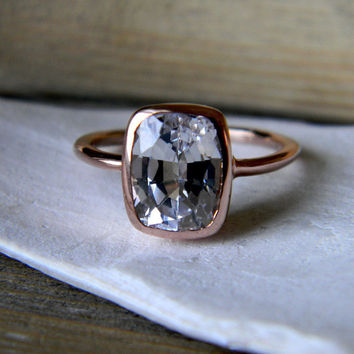 White Sapphire Cushion Rose Gold Solitaire by onegarnetgirl
