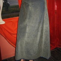 Amazing Vintage TALBOTS Corduroy Skirt  Long Green/Gray Cotton  Blends Size 8